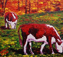 New England Autumn Cows by sesillie