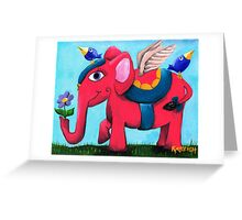 Pink Flying Elephant Greeting Card