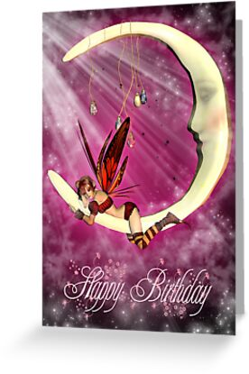 Birthday Card With Fairy On Moon by Moonlake