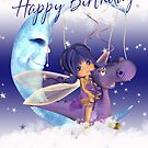 Birthday Card With Fairy Riding A Dragon by Moonlake