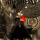 Steampunk Cute Birthday Card With Moonies Cutie Pie by Moonlake