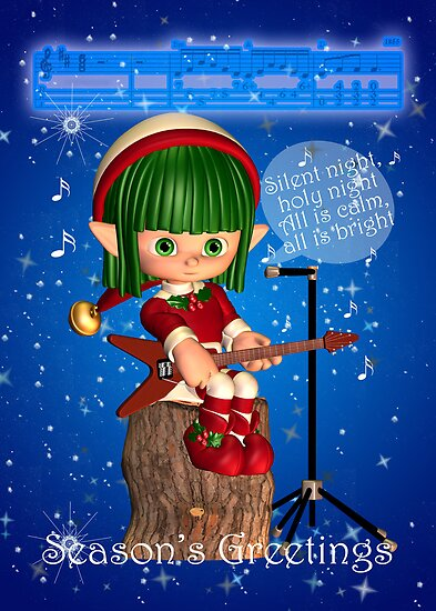 Elf Singing Silent Night Season's Greetings Christmas Card by Moonlake