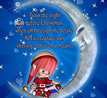 The Night Before Christmas With Cute Elf Sat On A Moon With Mouse by Moonlake