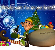Geordie Christmas Card With Elf Drinking Newcie Brown Ale by Moonlake