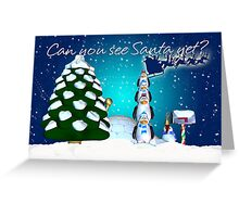 Excited Penguins On The Lookout For Santa Greeting Card