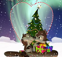I love You Christmas Card With Two Cute Squirrels For Boyfriend by Moonlake
