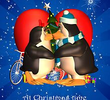 I Love You Husband Christmas Card With Kissing Penguins Cute by Moonlake