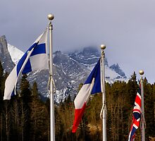 Olympic Flags - Canmore Nordic Centre by Roxanne Persson