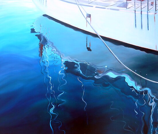 Yacht Reflection - Oil on Canvas by ChristineBetts