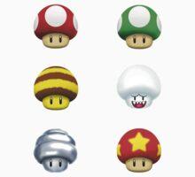 Nintendo - Every Mushroom by GigaczArt