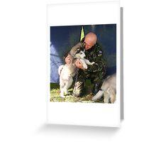 'Hard' Para Dog-Handler at work! Greeting Card