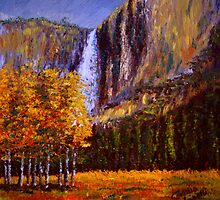 Aspens and Yosemite Falls by sesillie