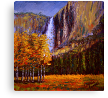 Aspens and Yosemite Falls Canvas Print