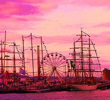Tall ships in a red sunset by PJSmyth