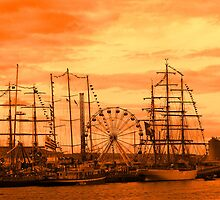 Tall Ships in an Orange Sunset by PJSmyth