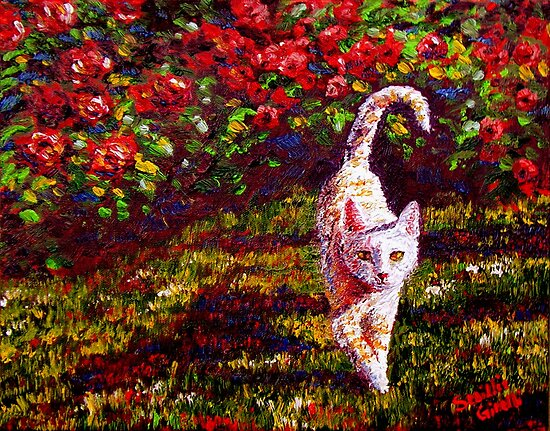 Curry Kitty in the Roses by sesillie