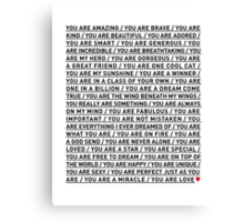YOU ARE LOVE Canvas Print