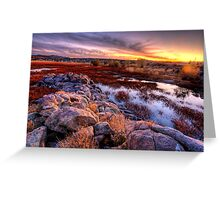 Willow Lake Rock Wall Sunset 1 Greeting Card
