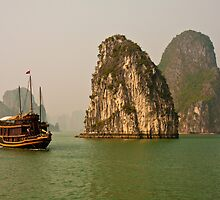 Junk in Halong Bay by Nickolay Stanev