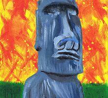 Easter Island Moai - Painting by Alejandro Cuadra
