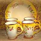 Cups And Plate by Linda Miller Gesualdo