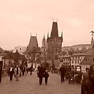 Sepia Photo of St. Charles Bridge in Prague, Czech Republic by emma62477