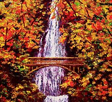 Autumn at Multnomah Falls by sesillie