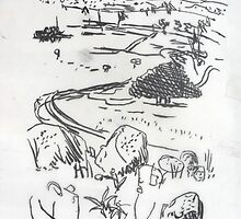 Quick Sketch Of The Lachlan Valley. by Richard  Tuvey