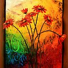 Red Daisies in a Frame by Abstract D&#x27;Oyley