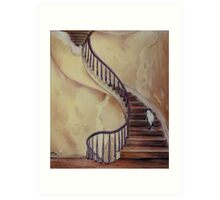 Cat on the Stairs Art Print