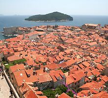 A Sea of Roofs from the Top of the Wall around Old Dubrovnik * by Laurel Talabere