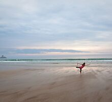 Yoga on the beach - St. Ouen's Bay, Jersey, C.I by Zoe Power