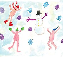 little nudists building a snowmen by withoutastitch