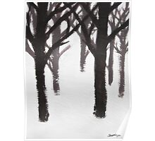 Winter Tree Branches Painting Poster