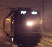 Blizzard Trains - AEM-7  © 2009 by Jack McCabe