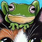 Tortie and Franklin - Cat and Frog Art by Lisa Marie Robinson