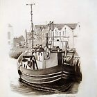 Galway City Ireland Commercial Boat Grafite Drawing by Daniel Fishback