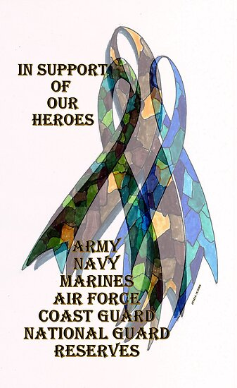 Collage of Ribbons Honoring our Troops by James Peele