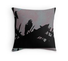 Feathered Friends Singing In The Wreckage Throw Pillow