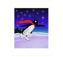 Skating Penguin Art Print