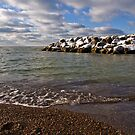 Snow on the Breakwater by Kathy Weaver