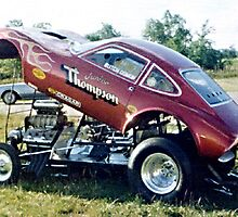 Opel GT AA/Gs Race Car with Blown Hemi Engine by Rhonda Strickland