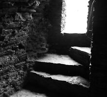 Shadow Stairs - Bishops Palace Wales UK by Rachel Pullen