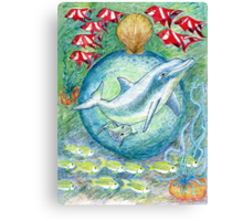 Mother dolphin Print Canvas Print
