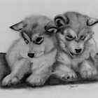 Charcoal Drawing of two Husky Pups (Brotherly Love) by Russ Smith