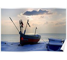 Fishing boat in the snow Poster