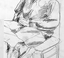 Woman Seated Pencil Sketch by Enchanted Studios