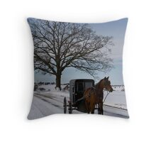 Horse and Buggy on Peace Road Throw Pillow