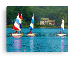 Striped Sails at Mystic, Connecticut Metal Print