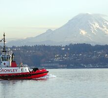 Crowley tug boat passing by Mt. Rainier by tmtphotography